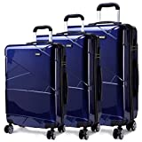 Kono Hardshell Suitcase 4 Wheeled Spinner Luggage Sets of 3 pcs (Set,Navy)