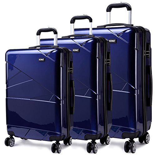 "Kono Designer Light Weight Hardshell 4 spinner wheels Travel Trolley Suitcase Luggage 3 Piece Set/ 20'' inch Cabin Size (20""+24""+28"", Navy)"