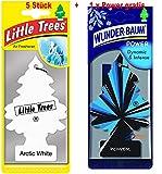 Wunderbaum 5 Stück Arctic White Lufterfrischer Duftbaum + 1 Stück Original Power Wunder-Baum Duftbäumchen Little Trees (Arctic White)