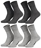 Tobeni 8 Paar Socken in Baumwolle mit Komfortbund ohne Gummi für Damen und Herren Farbe 4x Anthrazit 4x Grau Grösse 39-42