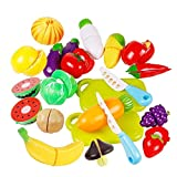 Jspoir Melodiz Kinder Geschnittenes spielzeug obst und gemüse Spielzeug Lebensmittel Spielen als Geschenk,Pretend Play Plastic Cut Fruit Toys for Children Baby Educational Play,20pcs