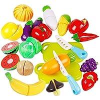 Jspoir Melodiz Set di 20pz Cibo Giocattolo verdure e frutte, Gioco Educativo Frutta Verdura, Giocattoli Educativi, Set Gioco per Bambini, Giocattolo di taglio