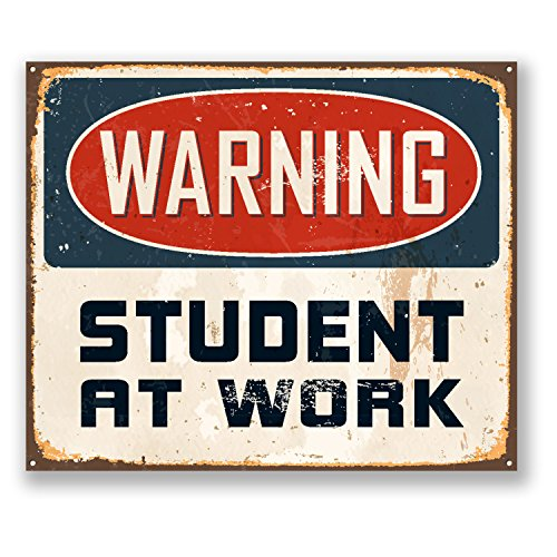 2-x-warning-student-at-work-sticker-car-bike-ipad-laptop-joke-gift-fun-4185-10cm-wide-x-85cm-tall