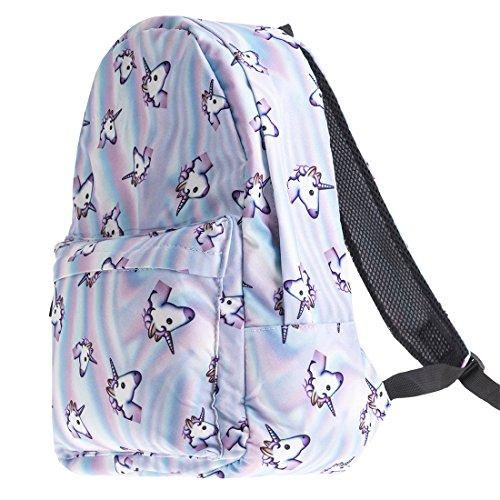 GWELL Einhorn Rucksack Teenager 3D-Druck Daypack Tasche für Schule Reisen Outdoor Camping lila