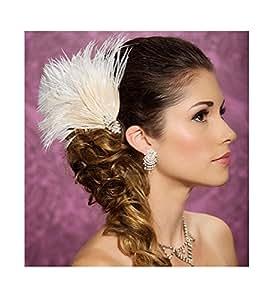 Jelinda pince à cheveux avec plume pour femme champagne