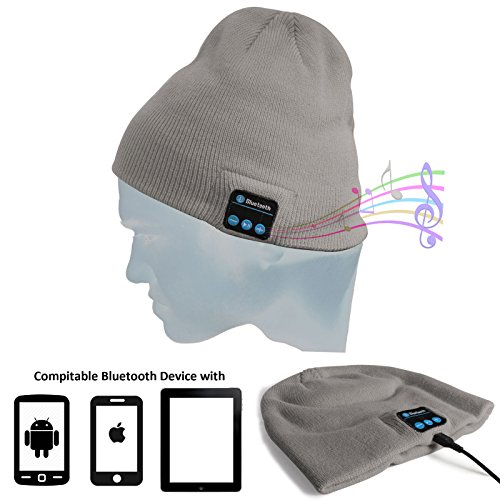 DMG Wireless Bluetooth Unisex Bluetooth Beanie Hat Winter Warm Cap with Built in Wireless Stereo Speaker Headphone for Outdoor Sport (Light Grey)