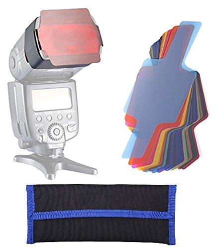 BlueBeach® 20 teiliges Set Speedlite grelle Farben Gele Farbfilter Universal Beleuchtung Filter Kit für Yongnuo Triopo Canon Nikon Sony Pentax Panasonic Fuji JVC Kodak DSLR Digitalkamera Blitz