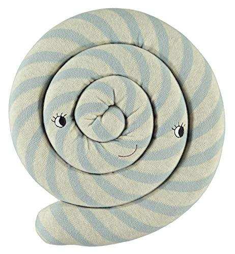 ushion Blue - Süßes Hellblau Weiß Getsreiftes Baby Kinder Kissen Kuschelkissen und Schmusekissen - Baumwolle Durchmesser 30 cm ()
