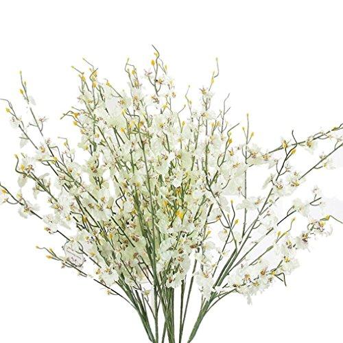 kingko Künstliche Deko Blumen Gefälschte BlumenSimulation Oncidium-Orchidee Seide Plastik Blume Künstliche Pflanze Blumenstrauß Blumen-Bouquet für DIY Hochzeit Party (Weiss)
