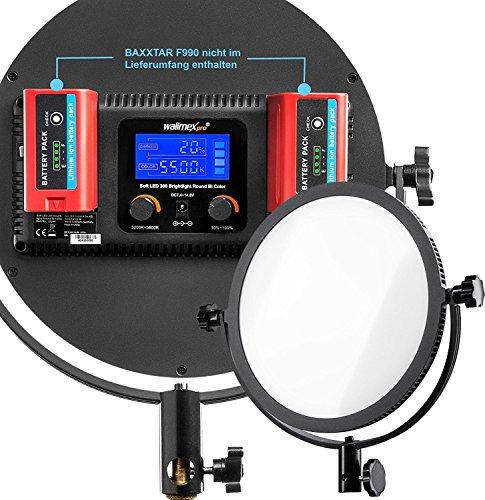 set-walimex-pro-soft-led-300-round-bi-color-cri-93-95ra-tlci-95-avec-baxxtar-pro-batterie-pour-np-f5
