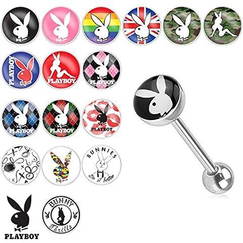 Playboy Adult Bunny Logo Print Inlay Steel Barbell 14 GA, Length: 16mm, Ball: 5 & 8mm, PB Bunny/British