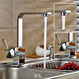 Auralum® Modern Taps Mixer Kitchen Sink Taps Swivel Spout Taps Luxury Chrome Faucets with Brass Faucet Body and Ceramic Cartridge(Hot and Cold