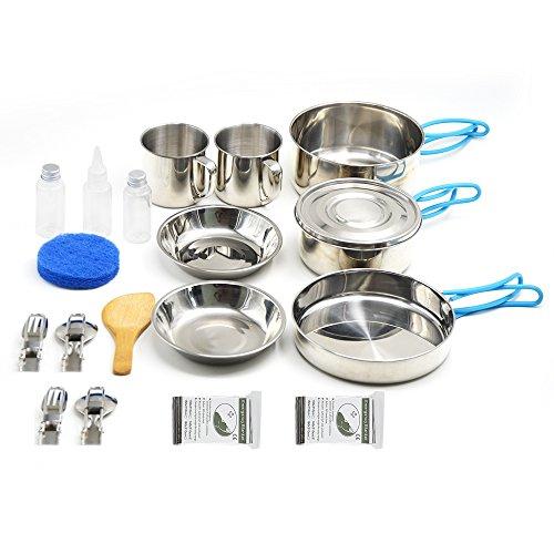 Kleine Camping Kochgeschirr, 11 Stück Geschenk + 9 Stück Edelstahl Mess Kit Backpacking Gear & Wandern im Freien Bug Out Bag Kochen Ausrüstung - Leichte, kompakte und langlebige Pot Pan (2 Person)