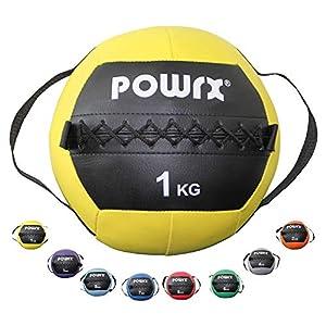 POWRX Medizinball inkl. Griff Band I Fitnessball Wall Ball 1-8 kg I Robuster Medizin Fitnessball