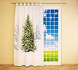 Clever-Kauf-24 Schlaufenschal Vorhang Gardine Winter Schnee Tannenbaum BxH 145 x 245 cm | Sichtschutz | Lichtdurchlässiger Schlaufenvorhang