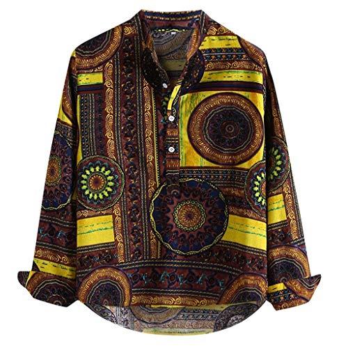 Fenverk Herren Sommer T-Shirt V-Ausschnitt Slim Fit Baumwolle-Anteil | Moderner MäNner Hoodie-Sweatshirt Kurzarm Lang Baumwolle Leinen Gedruckt Stehkragen Lose Henley Shirts (Gelb,L)