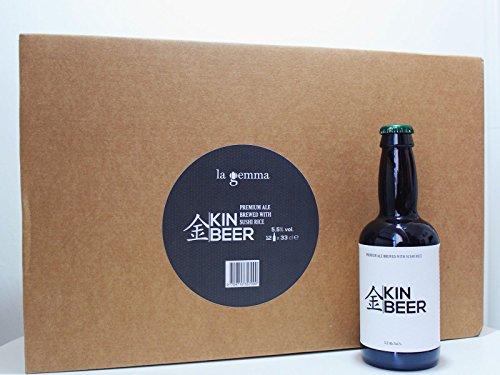 KIN BEER - Birra artigianale fermentata naturalmente con il riso per Sushi - 12 Bottiglie x 33 cl - La prima birra artigianale al mondo fermentata con il riso per Sushi