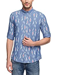 Nick&Jess Mens Blue Paisley Printed Slim Fit Casual Shirt