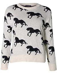 (womens multiple horse knitted jumper (me) Femmes multiples cheval tricoté cavalier