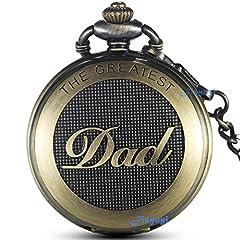 Idea Regalo - Gorben, orologio da tasca al quarzo, full-hunter, stile antico con catena, da uomo, ideale per il papà, con scatola