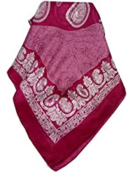 Echarpe Foulard Premier Qualité Classic Motif Zahra en Pink en 100% Soie du Mûrier de Pashmina & Silk
