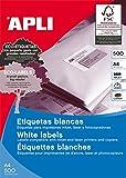 APLI 1787 - Etiquetas blancas imprimibles (210,0 x 148,0), adhesivo permanente 500 hojas