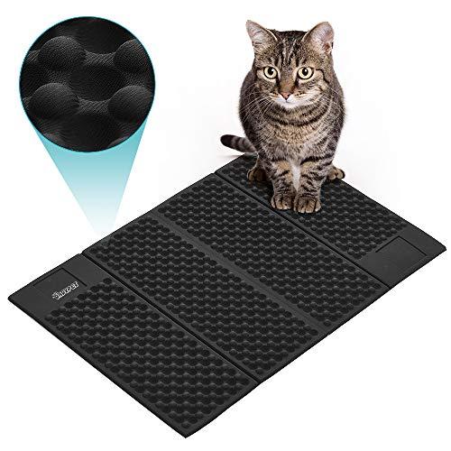 DADYPET Katze Katzentoilette Matte leicht zu reinigen Verbesserte Version Extragroße Doppelte Struktur Katzenmatte Wasserdicht (Schwarz)