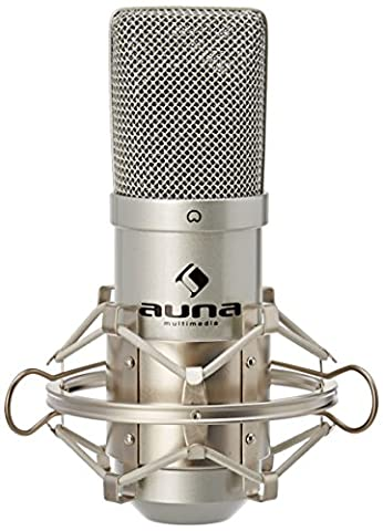 Auna MIC-900 USB Cardioid Studio Condenser Microphone (Plug & Play, USB Connector & Shockmount) silver