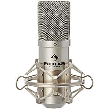 Auna MIC-900S USB Kondensator Mikrofon für Studio-Aufnahmen inkl. Spinne (16mm Kapsel, Nierencharakteristik, 320Hz - 18KHz) silber