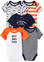 The Children's Place Baby Boys' Handsome Striped Bodysuit 5-Pack, Thun
