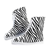 JasmineLi Fashion Zebra Pattern Waterproof Overshoes Zippered Drawstring Shoes Cover