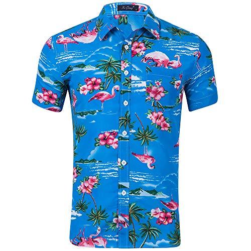 Kuson Urlaub Strand Hawaiihemd Shirt Freizeithemd Kurzarm mit modischem Druck (M, Flamingo Blau) (Den Kostüme Für Sommer)