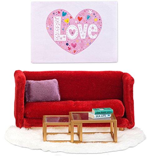 Puppenhaus Zubehör Wohnzimmermöbel rote Polstercouch mit Tisch | Wohnzimmer Möbel rote Polstercouch Smaland Lundby...