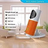 Clever dog Wireless-Sicherheit WiFi-Kameras / Smart Baby Monitor / Surveillance Überwachungskamera mit P2P, Nachtsicht , auf Nimm ein Video, Zwei-Wege-Audio, Motion Detection, Alarmmeldungen für Iphone Ipad Android Smartphone (Orange)
