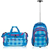 2 Teile Maxi Set: ELEPHANT Trolley Hero Signature Trolleyrucksack + Sporttasche Gym Mate XL (Plaid Aqua - Türkis Magenta Pink)