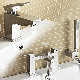 iBathUK | Chrome Basin Sink Mixer Tap + Bath Filler Hand Held Shower Head Set TP32081