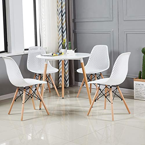 EGGREE Lot de 4 Chaise Creux Scandinave Chaise Salle a Manger Chaise de Cuisine en polycarbonate et Les Jambes de Design Rétro
