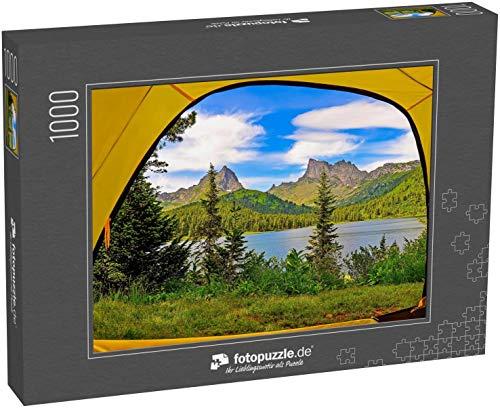 fotopuzzle.de Puzzle 1000 Teile Blick vom Zelt auf den Bergsee Bergseeblick vom Camping-Zelt aus Campingzelt am Bergsee