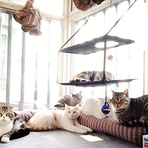 *L.S Katzen HängematteKatzenbett Katze Betten Sonnenschein Fenster Fensterplätze (Doppelt, Braun)*