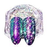 AMUSTER Effet de Miroir Flocons D'ongle Chunky,Nouveau Poudre d'ongle Miroir au Néon Glitter Nail Art Réfléchissant Chrome d'aluminium Poussière DIY (L)