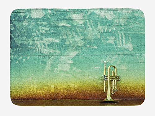 HLKPE Music Bath Mat, Old Aged Worn Single Trumpet Stands Alone Against a Faded Wall Jazz Theme Photo, Plush Bathroom Decor Mat with Non Slip Backing, 23.6 W X 15.7 L Inches, Sea Green Brown