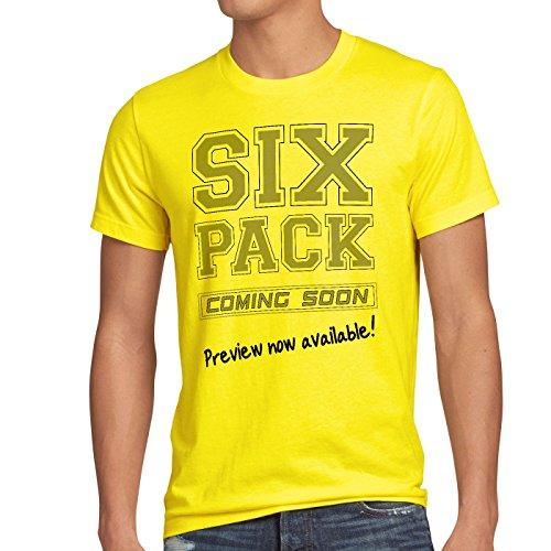 style3 Sixpack coming soon Herren T-Shirt Funshirt Shirt Spruchshirt Gelb