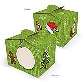 10 kleine Mini-Schachtel Weihnachten rot grün Verpackung Geschenkkarton Geschenkschachtel 8 x 6,5 x 5,5 cm Geschenke weihnachtlich verpacken Plätzchen Pralinen Kundengeschenk Mitarbeiter...