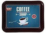 Metall-Tablett Vintage Style Coffee Shop blau 30 x 40 cm