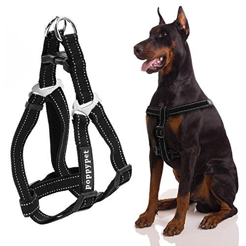 Poppypet Nylon Non Pull Hundegeschirr, Verstellbar Pet Step-In Brustgeschirr für Hunde, Klassisch Einfarbig Hundegeschirr mit Zugentlastung, hundegeschirr zuggeschirr Schwarz M