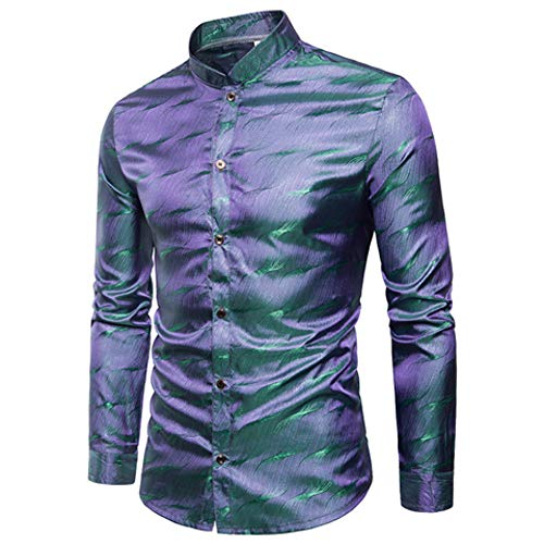Mandarin Kragen Smoking Hemd (PARKLEES Mens Silk Satin Kleid HemdMode Mandarin Kragen Langarm Casual Shirts Hochzeit Smoking Hemd Camisas para Hombre 3XL)