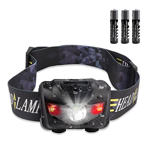 STCT IPX6 Waterproof Red Light LED Head Torch, Light Weight High Adjustable Headlamp with Five Modes of Lighting for Reading, Outdoor Running, Camping, Backpacking, Fishing, Hunting, Climbing, Walking, Jogging (160LM, 3W, AAA Batteries Included)