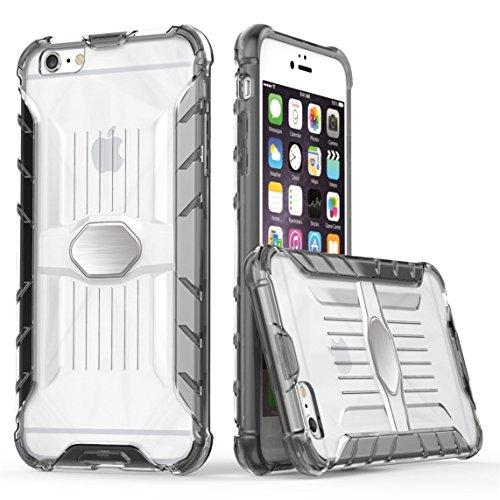 iPhone 6 Plus/6S Plus 5.5 Hülle, Voguecase Transparent Schutzhülle / Case / Cover / Hülle / 2 in 1 TPU + PC für magnetischen Auto Mount Gel Skin für Apple iPhone 6 Plus/6S Plus 5.5 (Schwarz)+ Gratis U grau