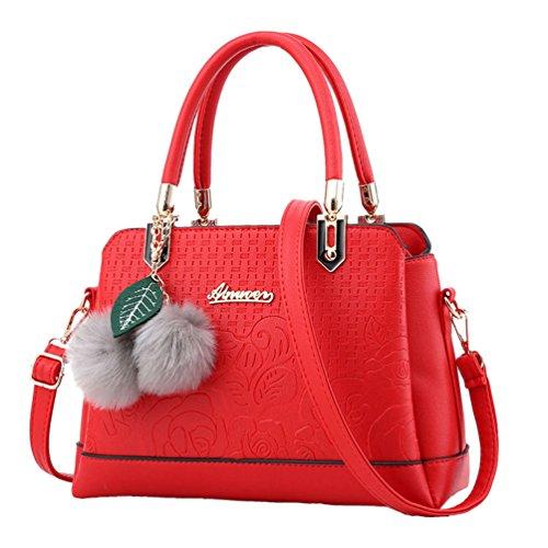 Sentao Moda Borse a Mano Donna Messenger Bag Borse in PU Pelle Tote Borsa Rosso