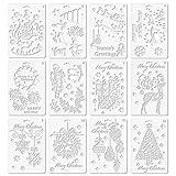 Schablone,Stencil Schablonen,12 STÜCKE Assorted Style Frohe Weihnachten Malerei Zeichnung Schablonen Vorlagen für Pigment Schule Projekt Scrapbooking DIY Handwerk Album